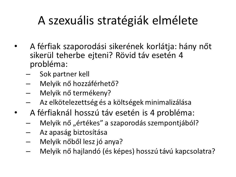 A szexuális stratégiák elmélete A férfiak szaporodási sikerének korlátja: hány nőt sikerül teherbe ejteni.