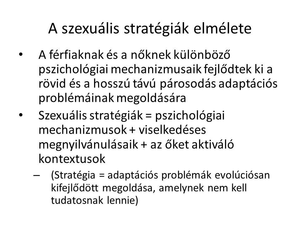 A szexuális stratégiák elmélete A férfiaknak és a nőknek különböző pszichológiai mechanizmusaik fejlődtek ki a rövid és a hosszú távú párosodás adaptációs problémáinak megoldására Szexuális stratégiák = pszichológiai mechanizmusok + viselkedéses megnyilvánulásaik + az őket aktiváló kontextusok – (Stratégia = adaptációs problémák evolúciósan kifejlődött megoldása, amelynek nem kell tudatosnak lennie) 14