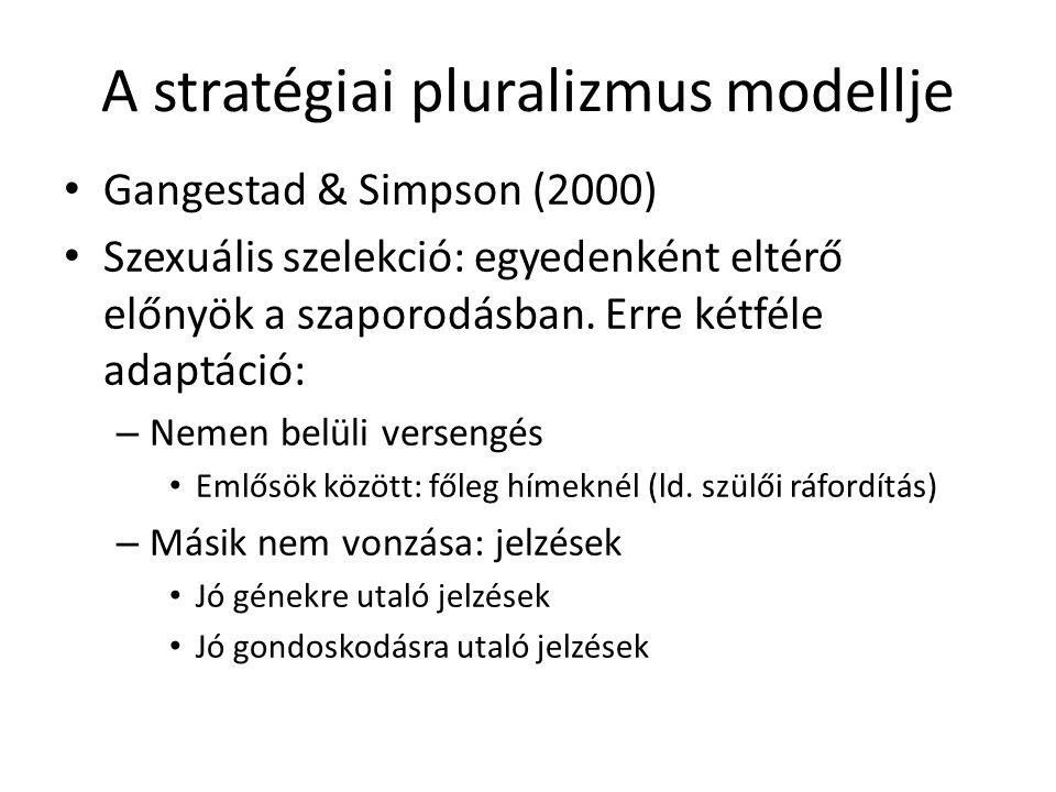 A stratégiai pluralizmus modellje Gangestad & Simpson (2000) Szexuális szelekció: egyedenként eltérő előnyök a szaporodásban.