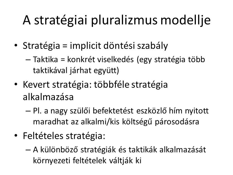 A stratégiai pluralizmus modellje Stratégia = implicit döntési szabály – Taktika = konkrét viselkedés (egy stratégia több taktikával járhat együtt) Kevert stratégia: többféle stratégia alkalmazása – Pl.