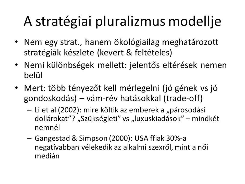 """A stratégiai pluralizmus modellje Nem egy strat., hanem ökológiailag meghatározott stratégiák készlete (kevert & feltételes) Nemi különbségek mellett: jelentős eltérések nemen belül Mert: több tényezőt kell mérlegelni (jó gének vs jó gondoskodás) – vám-rév hatásokkal (trade-off) – Li et al (2002): mire költik az emberek a """"párosodási dollárokat ."""