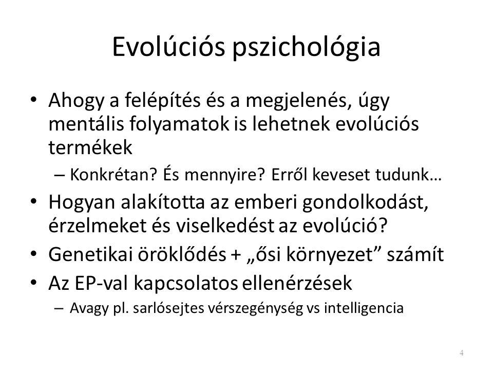 Evolúciós pszichológia Ahogy a felépítés és a megjelenés, úgy mentális folyamatok is lehetnek evolúciós termékek – Konkrétan.