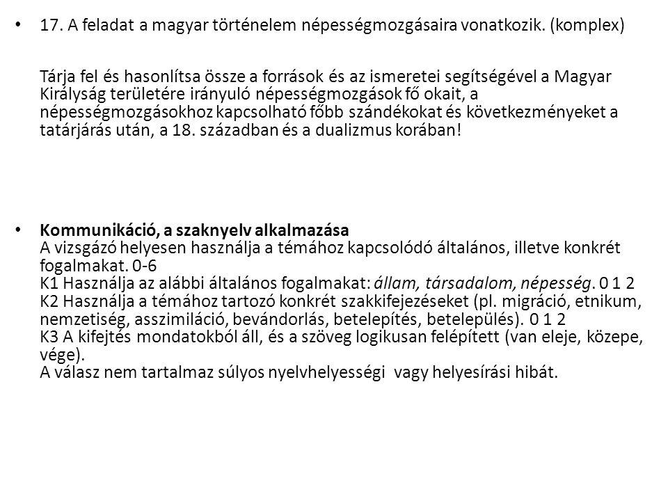 17. A feladat a magyar történelem népességmozgásaira vonatkozik.