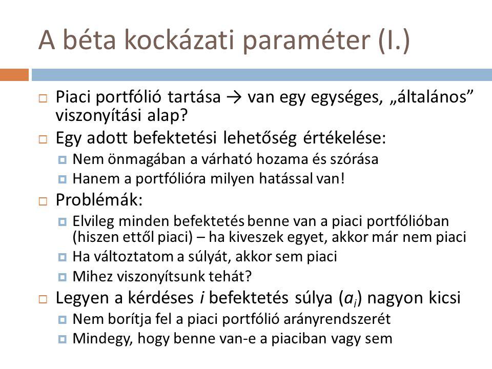 """A béta kockázati paraméter (I.)  Piaci portfólió tartása → van egy egységes, """"általános viszonyítási alap."""