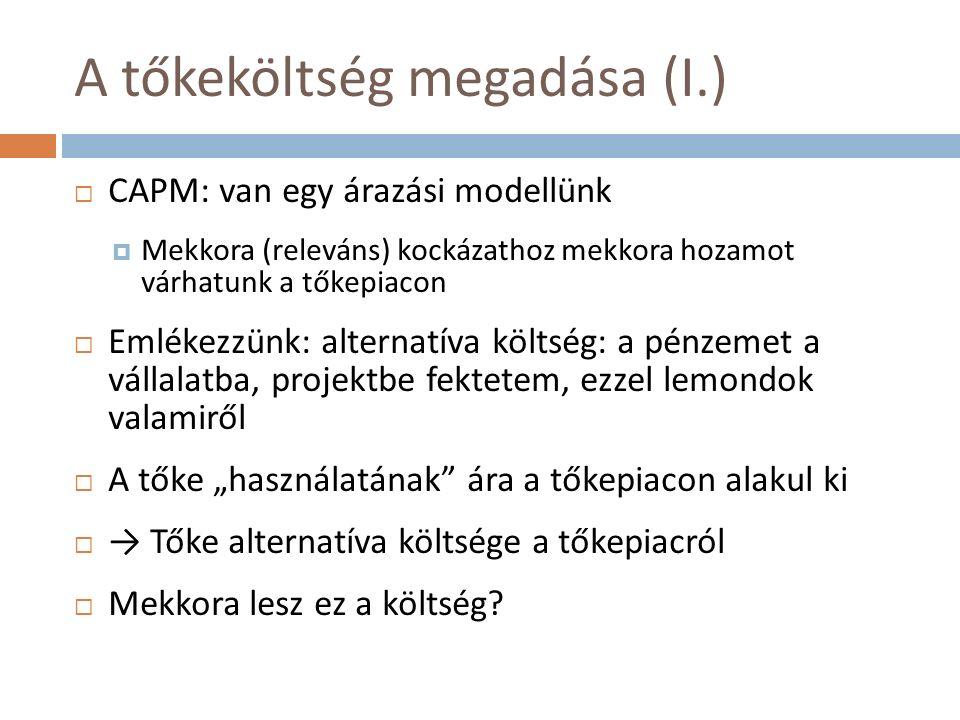 """A tőkeköltség megadása (I.)  CAPM: van egy árazási modellünk  Mekkora (releváns) kockázathoz mekkora hozamot várhatunk a tőkepiacon  Emlékezzünk: alternatíva költség: a pénzemet a vállalatba, projektbe fektetem, ezzel lemondok valamiről  A tőke """"használatának ára a tőkepiacon alakul ki  → Tőke alternatíva költsége a tőkepiacról  Mekkora lesz ez a költség"""