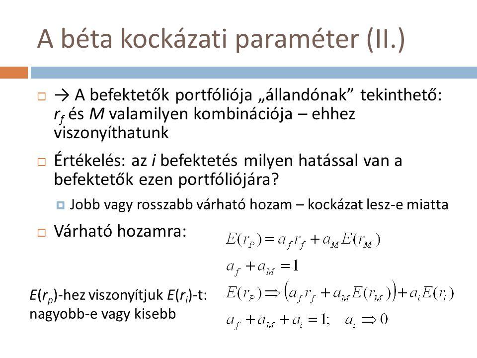 """A béta kockázati paraméter (II.)  → A befektetők portfóliója """"állandónak tekinthető: r f és M valamilyen kombinációja – ehhez viszonyíthatunk  Értékelés: az i befektetés milyen hatással van a befektetők ezen portfóliójára."""
