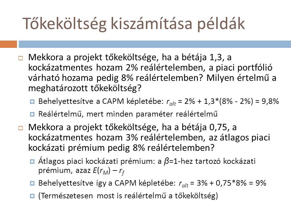 Tőkeköltség kiszámítása példák  Mekkora a projekt tőkeköltsége, ha a bétája 1,3, a kockázatmentes hozam 2% reálértelemben, a piaci portfólió várható hozama pedig 8% reálértelemben.