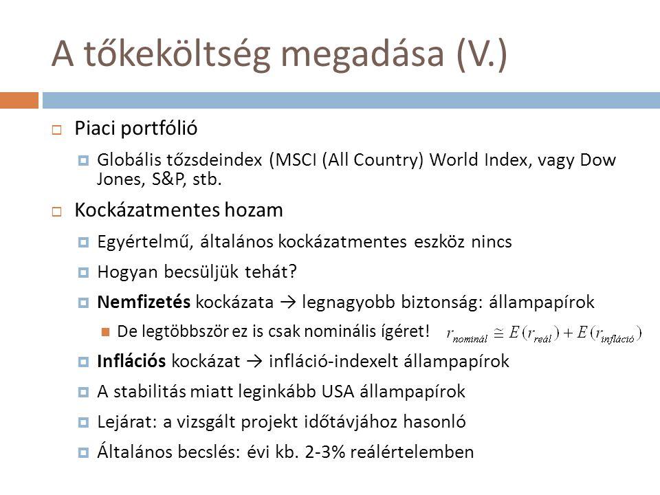 A tőkeköltség megadása (V.)  Piaci portfólió  Globális tőzsdeindex (MSCI (All Country) World Index, vagy Dow Jones, S&P, stb.