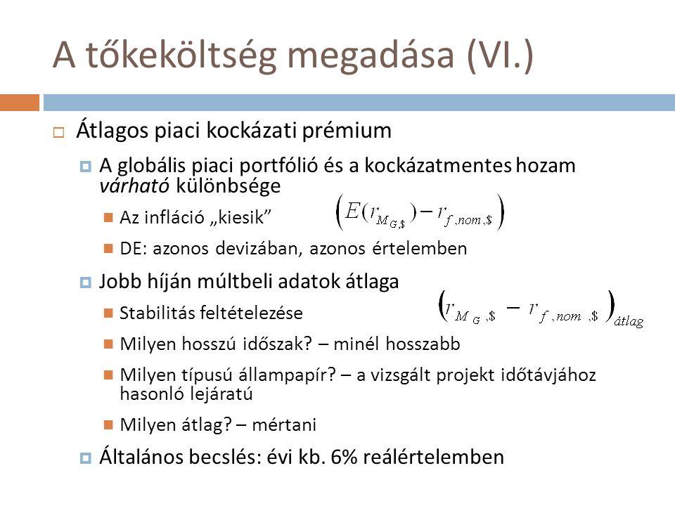 """A tőkeköltség megadása (VI.)  Átlagos piaci kockázati prémium  A globális piaci portfólió és a kockázatmentes hozam várható különbsége Az infláció """"kiesik DE: azonos devizában, azonos értelemben  Jobb híján múltbeli adatok átlaga Stabilitás feltételezése Milyen hosszú időszak."""