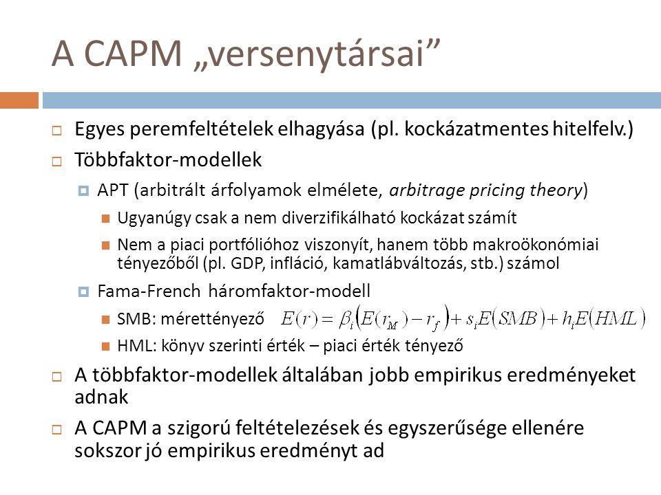 """A CAPM """"versenytársai  Egyes peremfeltételek elhagyása (pl."""