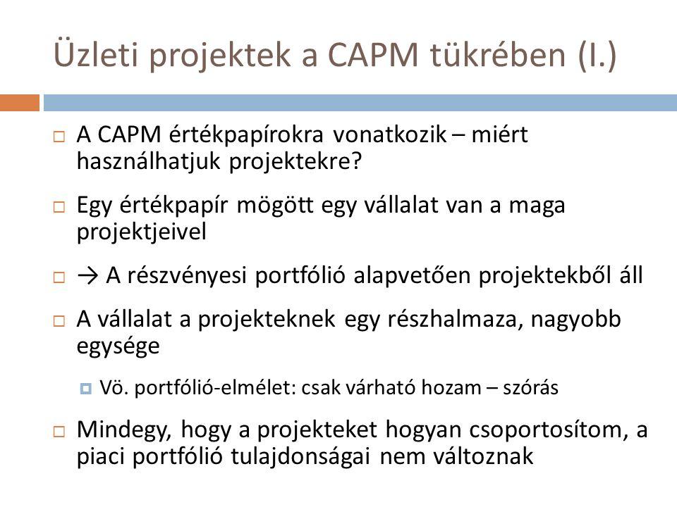 Üzleti projektek a CAPM tükrében (I.)  A CAPM értékpapírokra vonatkozik – miért használhatjuk projektekre.