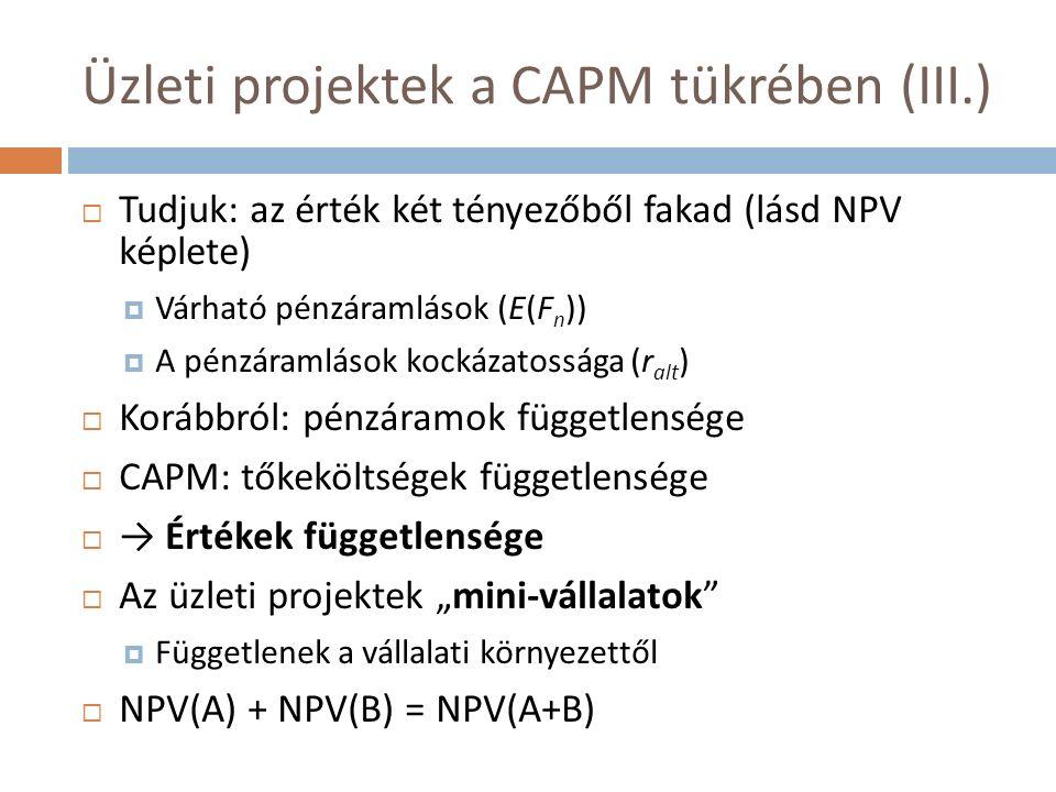 """Üzleti projektek a CAPM tükrében (III.)  Tudjuk: az érték két tényezőből fakad (lásd NPV képlete)  Várható pénzáramlások (E(F n ))  A pénzáramlások kockázatossága (r alt )  Korábbról: pénzáramok függetlensége  CAPM: tőkeköltségek függetlensége  → Értékek függetlensége  Az üzleti projektek """"mini-vállalatok  Függetlenek a vállalati környezettől  NPV(A) + NPV(B) = NPV(A+B)"""