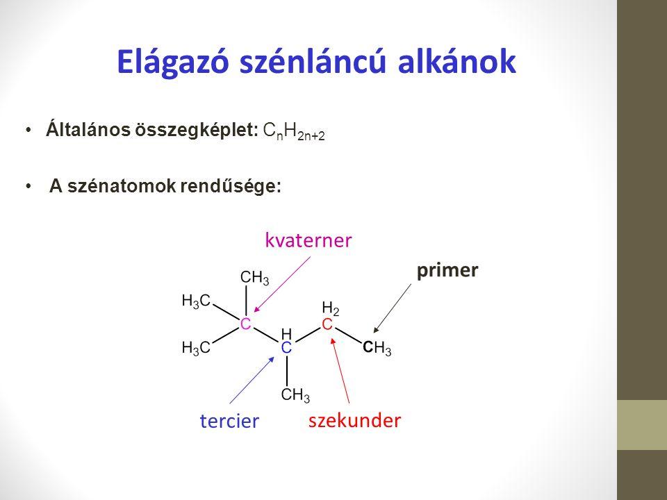 Elágazó szénláncú alkánok A szénatomok rendűsége: Általános összegképlet: C n H 2n+2 primer szekunder tercier kvaterner