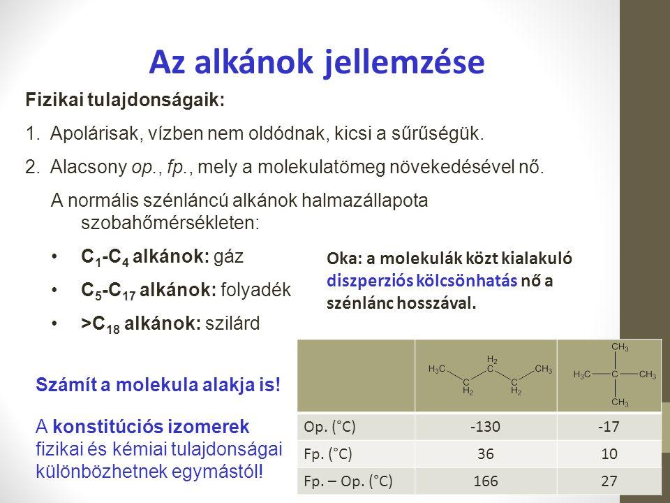 Az alkánok jellemzése Fizikai tulajdonságaik: 1.Apolárisak, vízben nem oldódnak, kicsi a sűrűségük. 2.Alacsony op., fp., mely a molekulatömeg növekedé