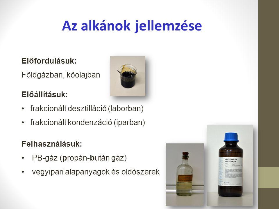 Az alkánok jellemzése Előfordulásuk: Földgázban, kőolajban Felhasználásuk: PB-gáz (propán-bután gáz) vegyipari alapanyagok és oldószerek Előállításuk: