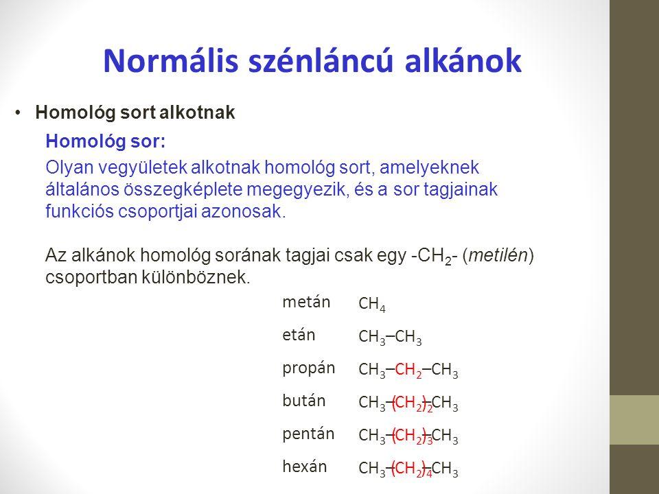 Az alkánok jellemzése Előfordulásuk: Földgázban, kőolajban Felhasználásuk: PB-gáz (propán-bután gáz) vegyipari alapanyagok és oldószerek Előállításuk: frakcionált desztilláció (laborban) frakcionált kondenzáció (iparban)