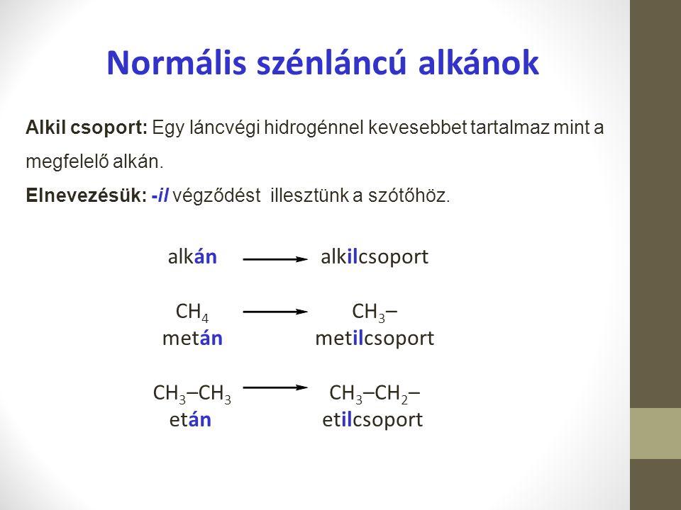 Alkil csoport: Egy láncvégi hidrogénnel kevesebbet tartalmaz mint a megfelelő alkán. Elnevezésük: -il végződést illesztünk a szótőhöz. alkán CH 4 metá
