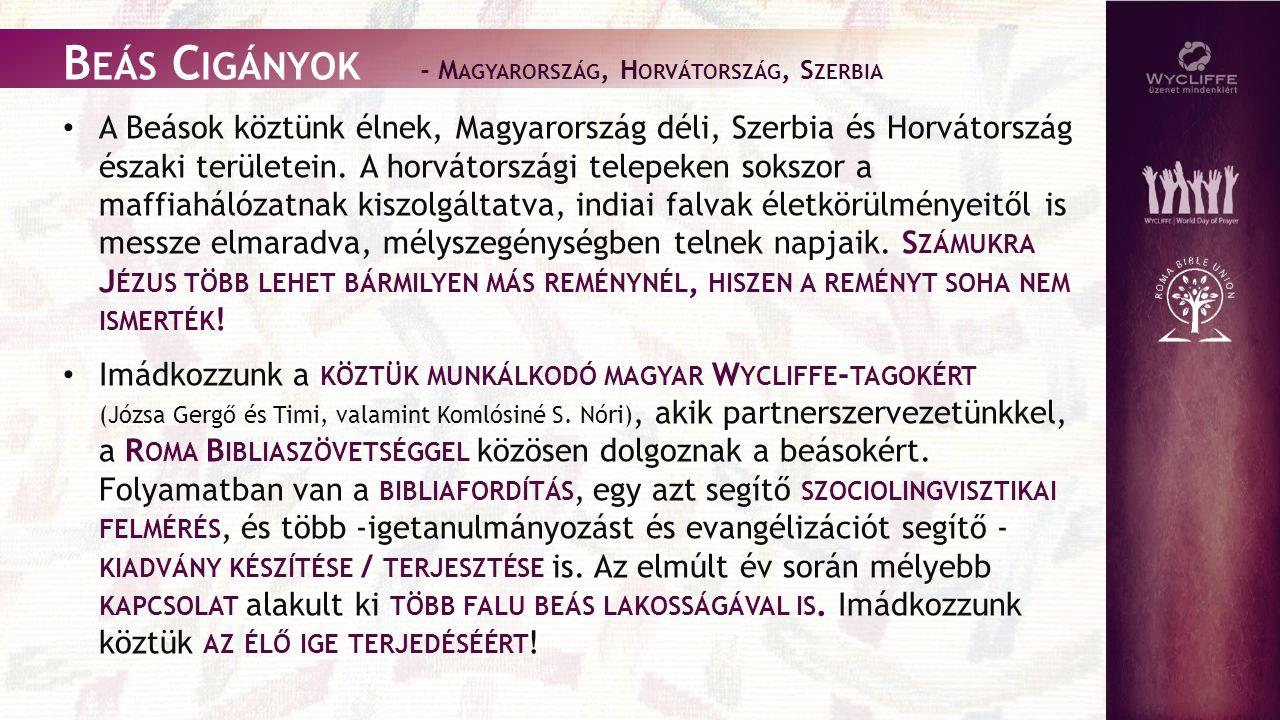 B EÁS C IGÁNYOK - M AGYARORSZÁG, H ORVÁTORSZÁG, S ZERBIA A Beások köztünk élnek, Magyarország déli, Szerbia és Horvátország északi területein.