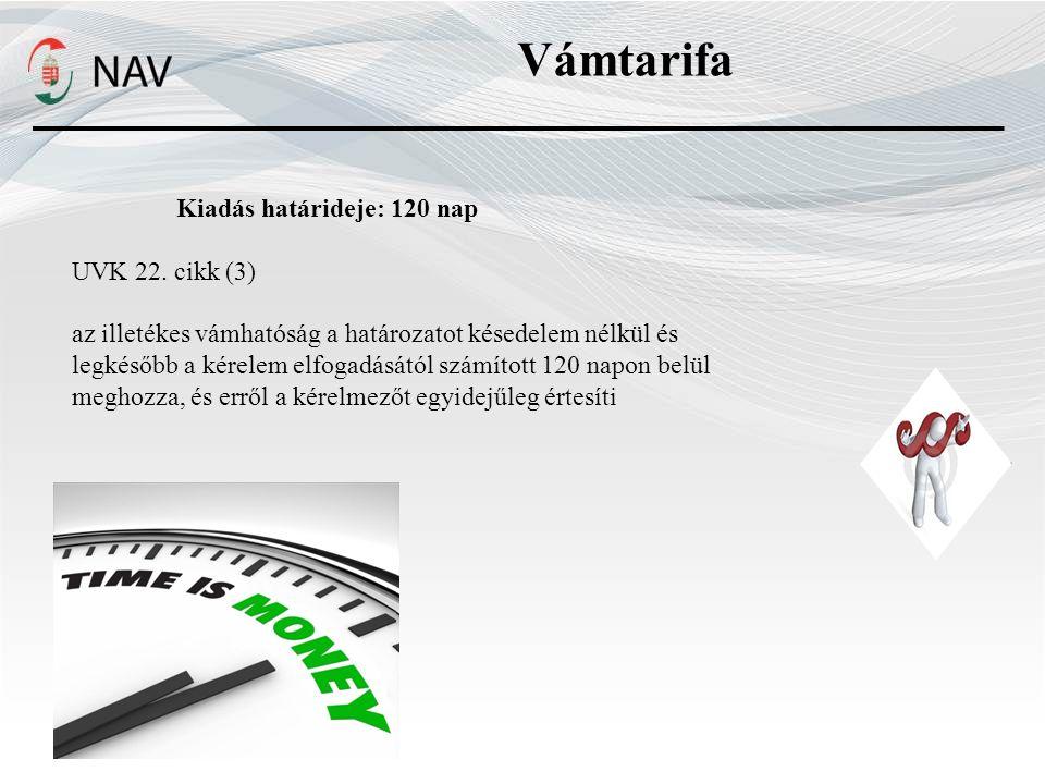 Vámtarifa Kiadás határideje: 120 nap UVK 22.