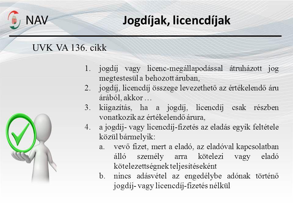 Jogdíjak, licencdíjak UVK VA 136.
