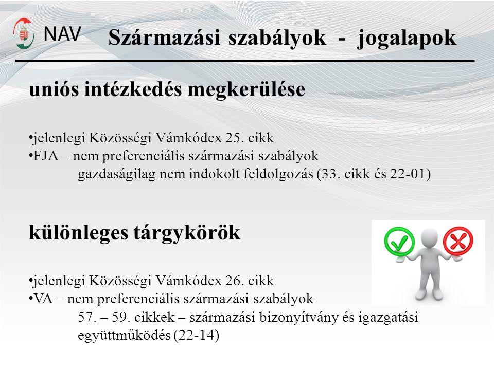 uniós intézkedés megkerülése jelenlegi Közösségi Vámkódex 25.