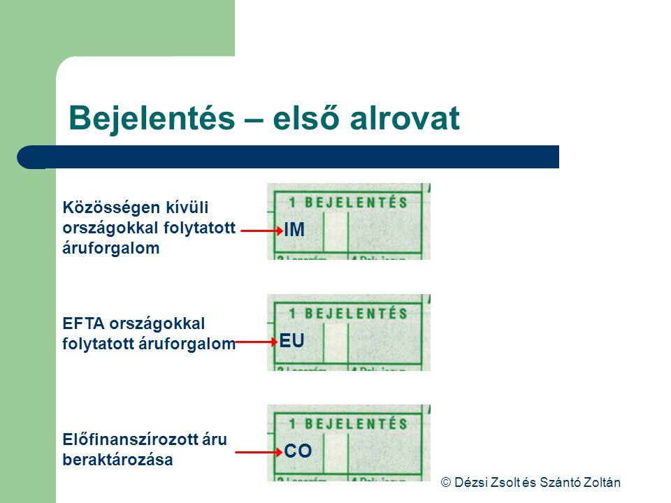 © Dézsi Zsolt és Szántó Zoltán Bejelentés – első alrovat IM EU CO Közösségen kívüli országokkal folytatott áruforgalom EFTA országokkal folytatott áru