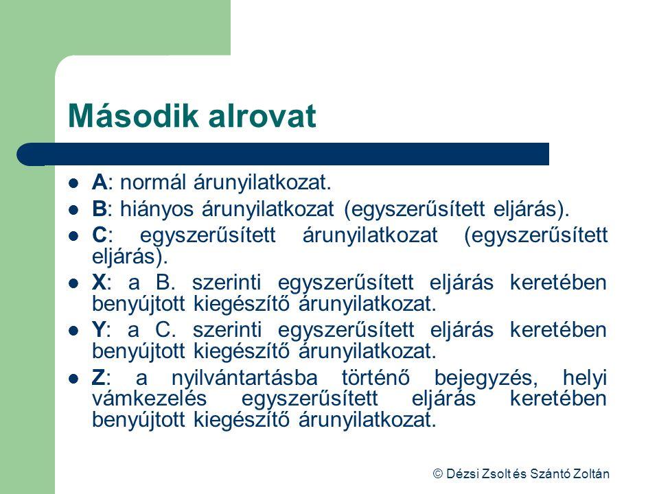 © Dézsi Zsolt és Szántó Zoltán Második alrovat A: normál árunyilatkozat. B: hiányos árunyilatkozat (egyszerűsített eljárás). C: egyszerűsített árunyil