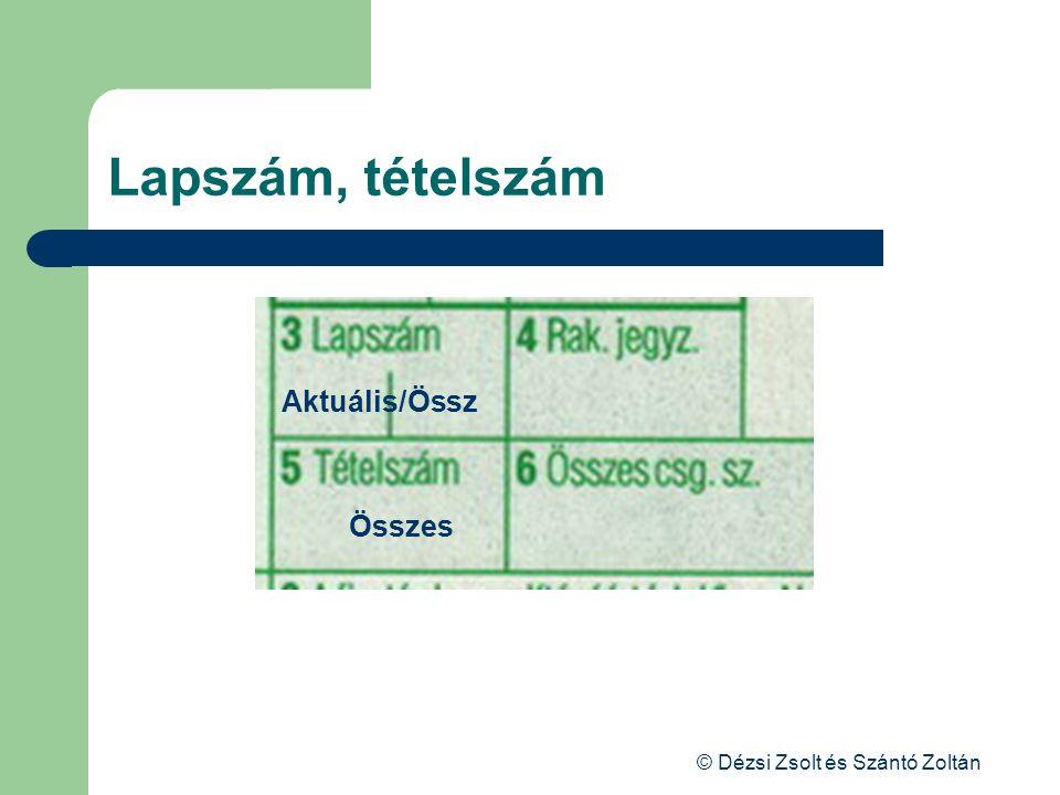 © Dézsi Zsolt és Szántó Zoltán Lapszám, tételszám Aktuális/Össz Összes