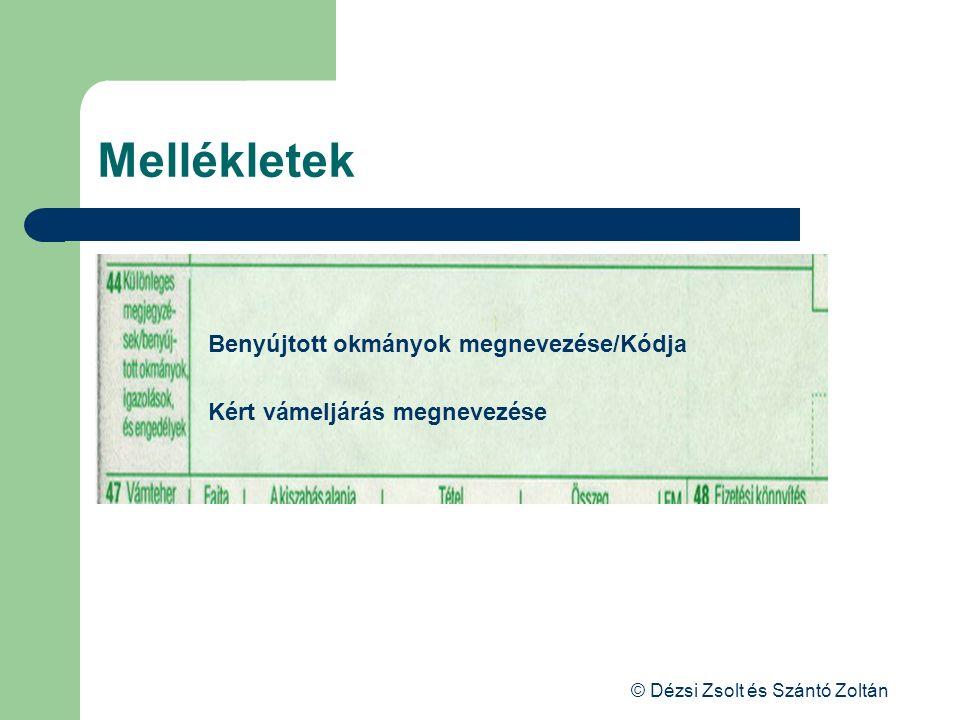 © Dézsi Zsolt és Szántó Zoltán Mellékletek Benyújtott okmányok megnevezése/Kódja Kért vámeljárás megnevezése