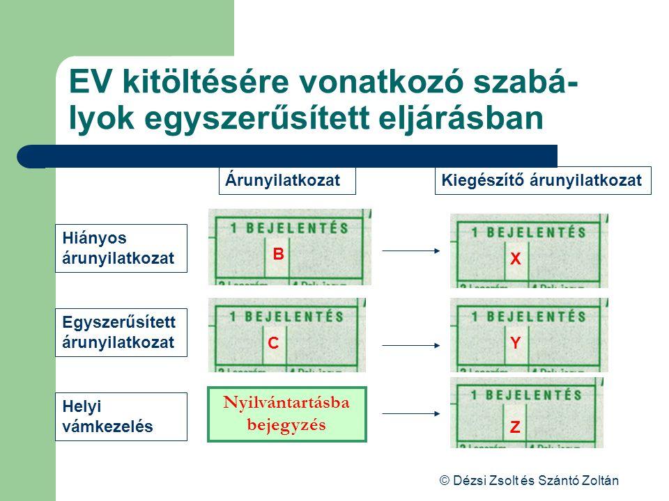 © Dézsi Zsolt és Szántó Zoltán EV kitöltésére vonatkozó szabá- lyok egyszerűsített eljárásban ÁrunyilatkozatKiegészítő árunyilatkozat Hiányos árunyila