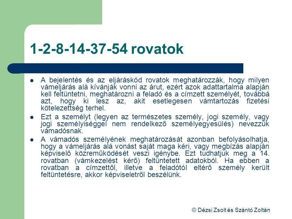 © Dézsi Zsolt és Szántó Zoltán 1-2-8-14-37-54 rovatok A bejelentés és az eljáráskód rovatok meghatározzák, hogy milyen vámeljárás alá kívánják vonni a