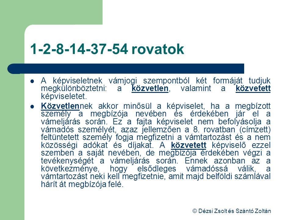© Dézsi Zsolt és Szántó Zoltán 1-2-8-14-37-54 rovatok A képviseletnek vámjogi szempontból két formáját tudjuk megkülönböztetni: a közvetlen, valamint