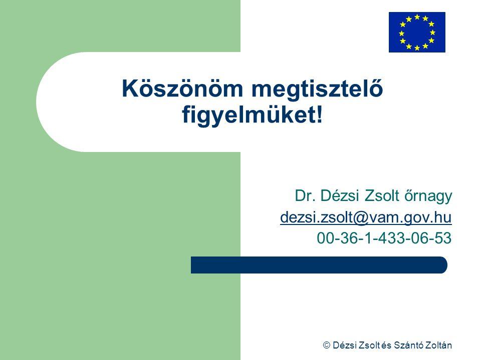 © Dézsi Zsolt és Szántó Zoltán Köszönöm megtisztelő figyelmüket! Dr. Dézsi Zsolt őrnagy dezsi.zsolt@vam.gov.hu 00-36-1-433-06-53