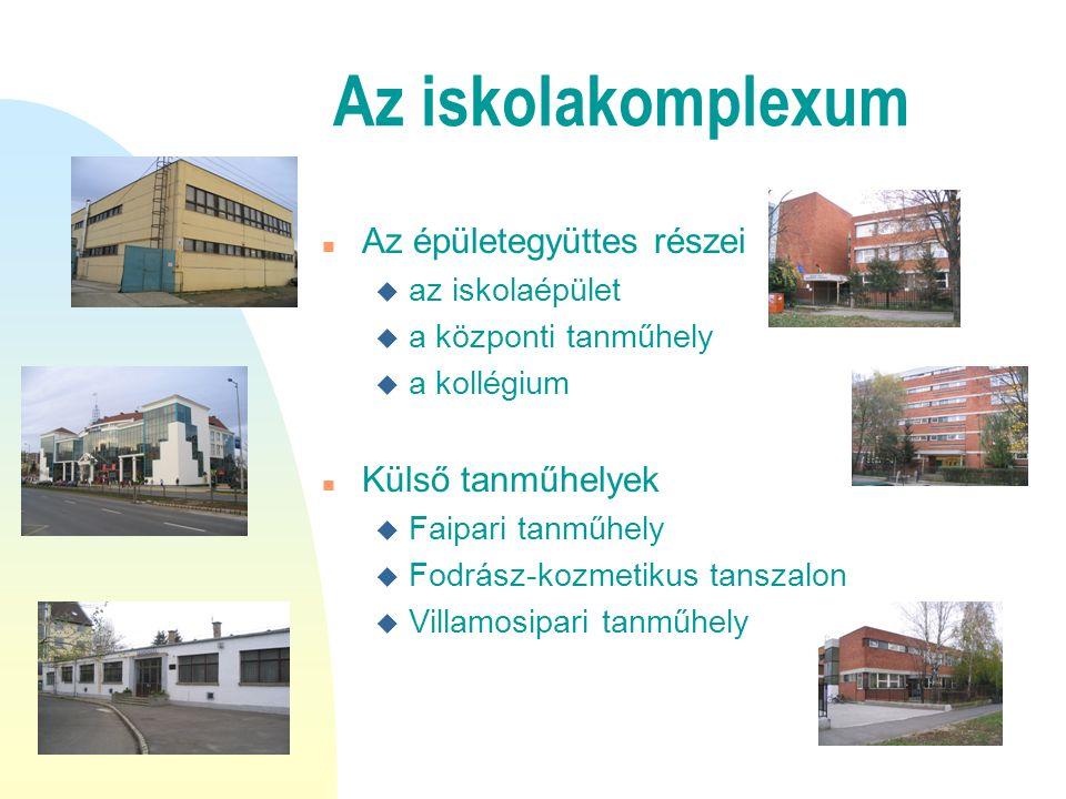 Az iskolakomplexum n Az épületegyüttes részei u az iskolaépület u a központi tanműhely u a kollégium n Külső tanműhelyek u Faipari tanműhely u Fodrász-kozmetikus tanszalon u Villamosipari tanműhely