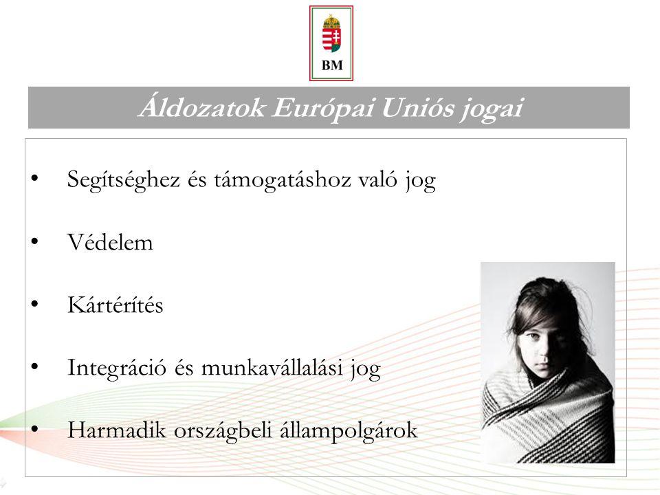 Áldozatok Európai Uniós jogai I.Segítséghez és támogatáshoz való jog Támogatás:  Nem köthető feltételhez  Gyermekközpontú szemlélet Szolgáltatások:  Biztonságos elhelyezés  Anyagi támogatás  Orvosi ellátás  Pszichológiai segítségnyújtás  Tanácsadás, tájékoztatás  Tolmácsolás, fordítás