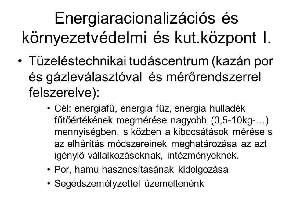 Energiaracionalizációs és környezetvédelmi és kut.központ I. Tüzeléstechnikai tudáscentrum (kazán por és gázleválasztóval és mérőrendszerrel felszerel