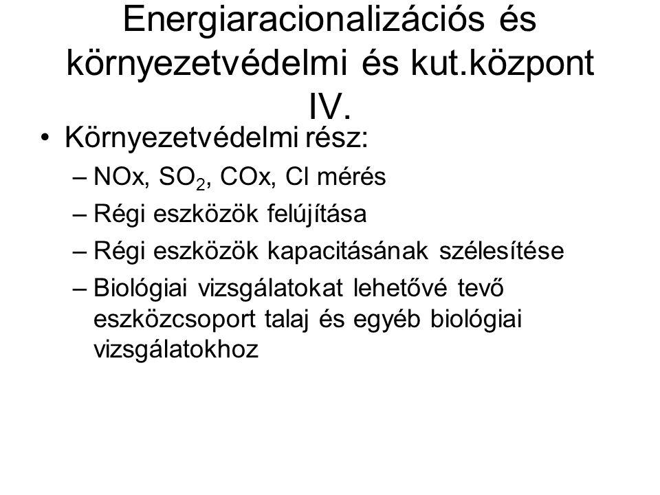 Energiaracionalizációs és környezetvédelmi és kut.központ IV. Környezetvédelmi rész: –NOx, SO 2, COx, Cl mérés –Régi eszközök felújítása –Régi eszközö