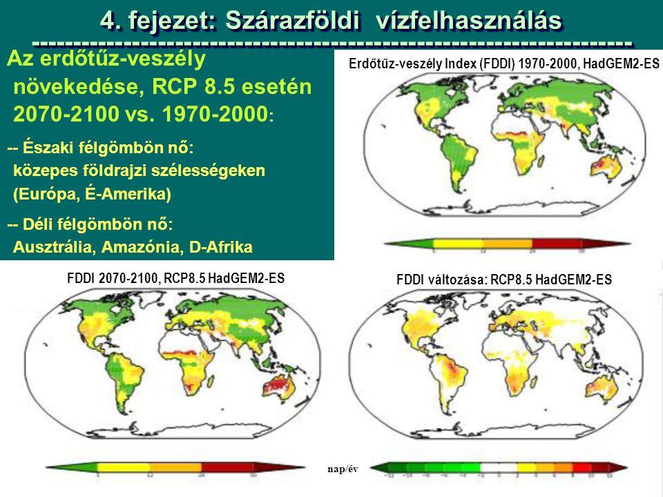 Az erdőtűz-veszély növekedése, RCP 8.5 esetén 2070-2100 vs.