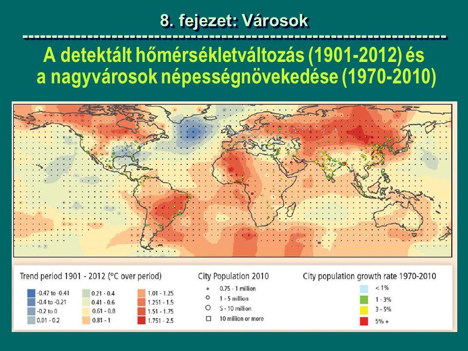 A detektált hőmérsékletváltozás (1901-2012) és a nagyvárosok népességnövekedése (1970-2010) 8.