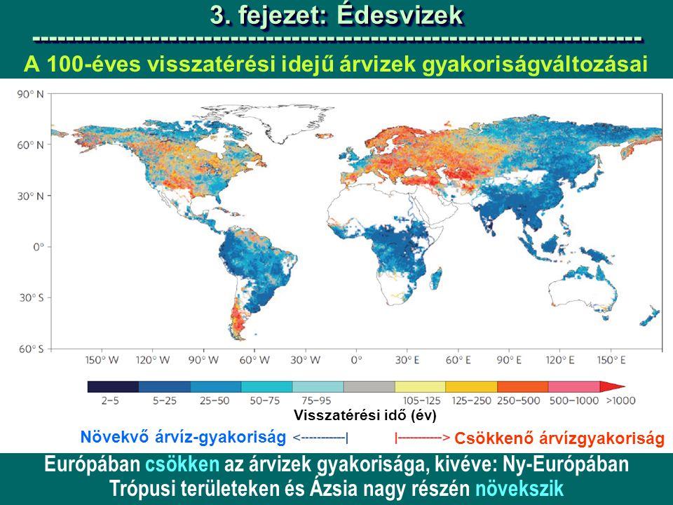 A 100-éves visszatérési idejű árvizek gyakoriságváltozásai Növekvő árvíz-gyakoriság 3.