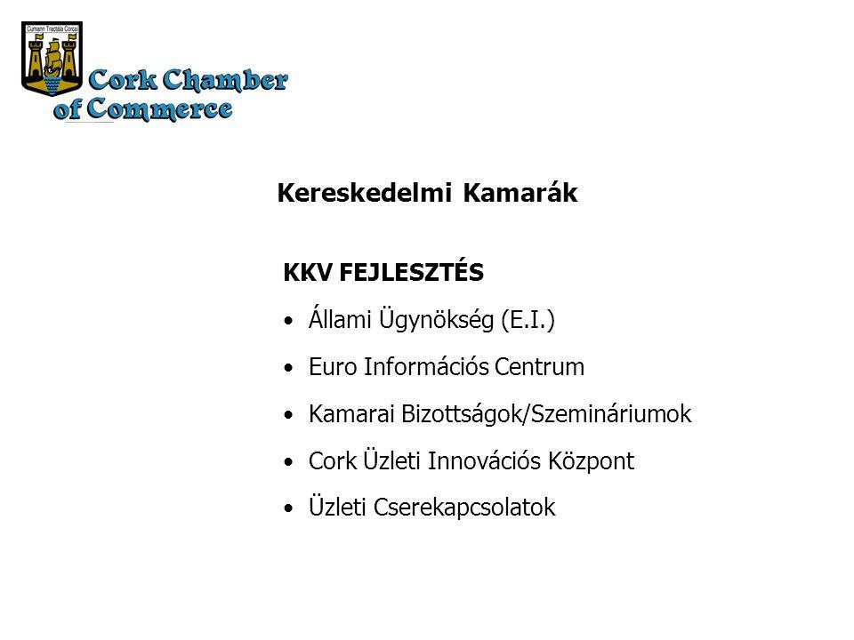 Kereskedelmi Kamarák KKV FEJLESZTÉS Állami Ügynökség (E.I.) Euro Információs Centrum Kamarai Bizottságok/Szemináriumok Cork Üzleti Innovációs Központ Üzleti Cserekapcsolatok -