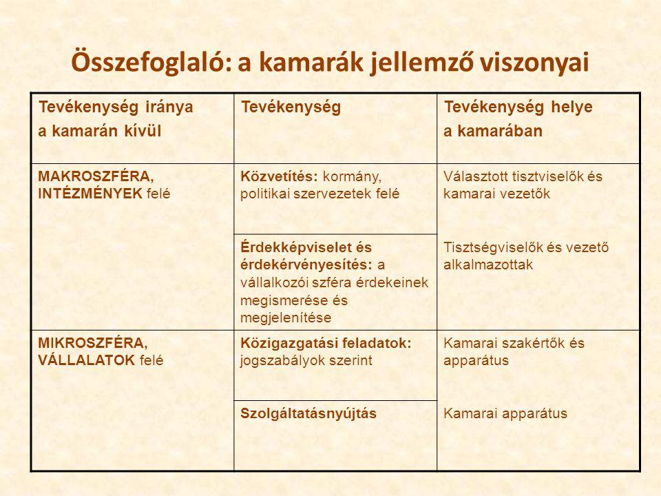 Összefoglaló: a kamarák jellemző viszonyai Tevékenység iránya a kamarán kívül TevékenységTevékenység helye a kamarában MAKROSZFÉRA, INTÉZMÉNYEK felé Közvetítés: kormány, politikai szervezetek felé Választott tisztviselők és kamarai vezetők Érdekképviselet és érdekérvényesítés: a vállalkozói szféra érdekeinek megismerése és megjelenítése Tisztségviselők és vezető alkalmazottak MIKROSZFÉRA, VÁLLALATOK felé Közigazgatási feladatok: jogszabályok szerint Kamarai szakértők és apparátus SzolgáltatásnyújtásKamarai apparátus