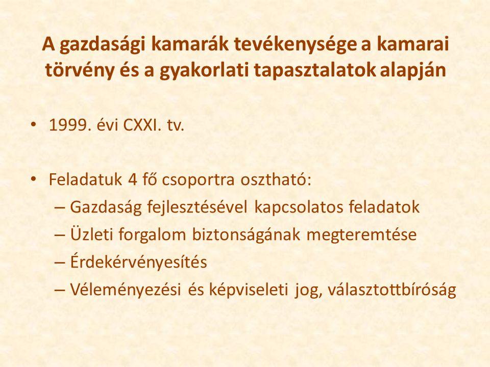 A gazdasági kamarák tevékenysége a kamarai törvény és a gyakorlati tapasztalatok alapján 1999.