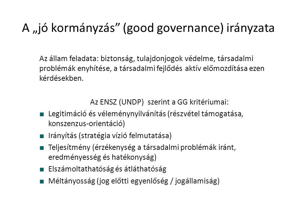 """A """"jó kormányzás (good governance) irányzata Az állam feladata: biztonság, tulajdonjogok védelme, társadalmi problémák enyhítése, a társadalmi fejlődés aktív előmozdítása ezen kérdésekben."""