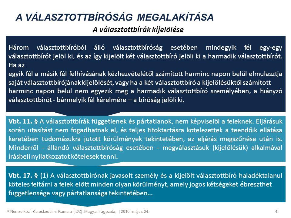 A Nemzetközi Kereskedelmi Kamara (ICC) Magyar Tagozata; | 2016. május 24. 4 A VÁLASZTOTTBÍRÓSÁG MEGALAKÍTÁSA A választottbírák kijelölése Három válasz