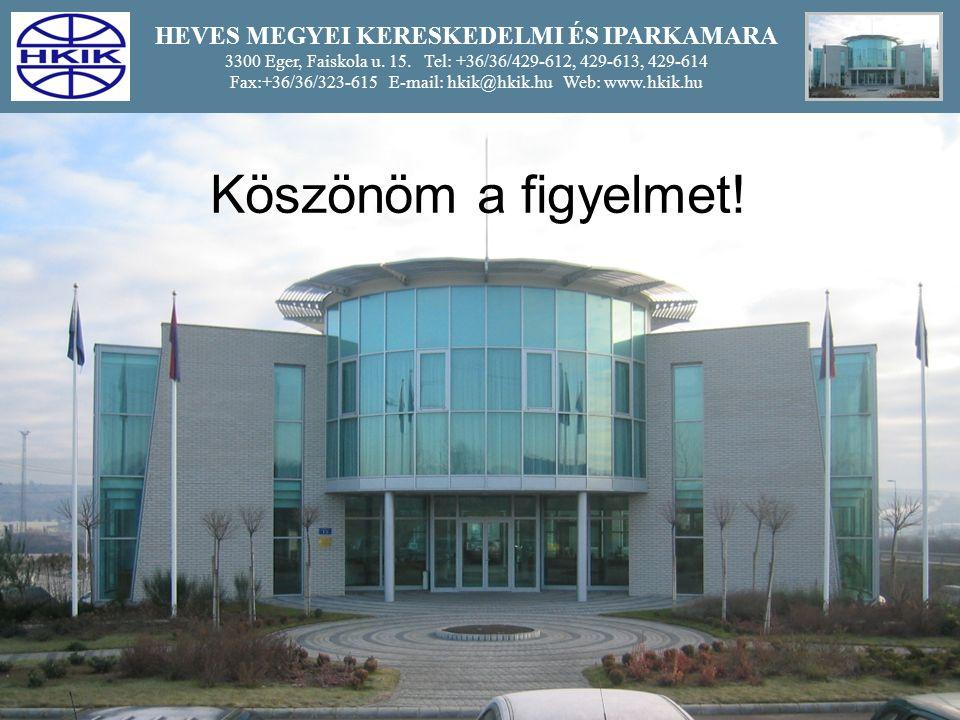 14 HEVES MEGYEI KERESKEDELMI ÉS IPARKAMARA 3300 Eger, Faiskola u.