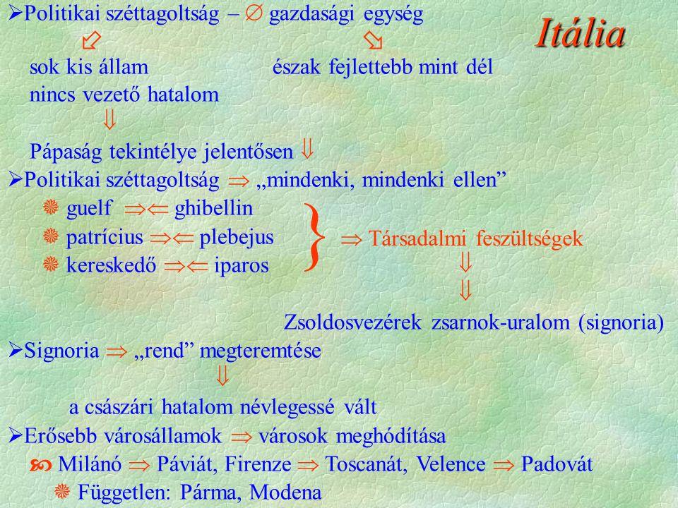 """Itália  Politikai széttagoltság –  gazdasági egység   sok kis állam észak fejlettebb mint dél nincs vezető hatalom  Pápaság tekintélye jelentősen   Politikai széttagoltság  """"mindenki, mindenki ellen  guelf  ghibellin  patrícius  plebejus  kereskedő  iparos   Zsoldosvezérek zsarnok-uralom (signoria)  Signoria  """"rend megteremtése  a császári hatalom névlegessé vált  Erősebb városállamok  városok meghódítása  Milánó  Páviát, Firenze  Toscanát, Velence  Padovát  Független: Párma, Modena }  Társadalmi feszültségek"""