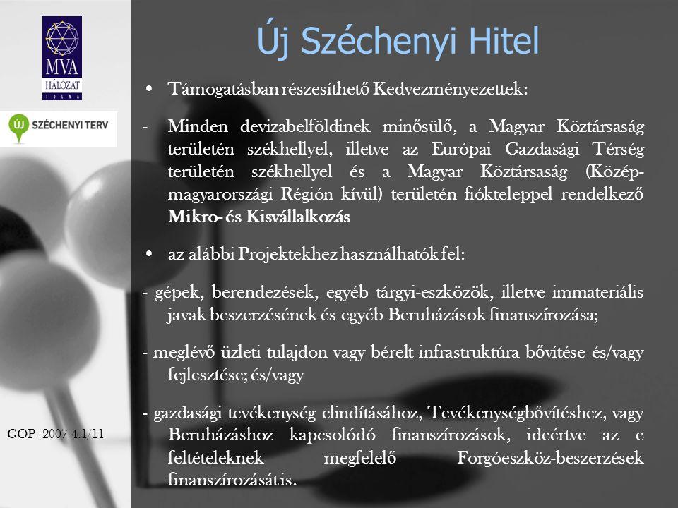 Új Széchenyi Hitel Támogatásban részesíthet ő Kedvezményezettek: -Minden devizabelföldinek min ő sül ő, a Magyar Köztársaság területén székhellyel, il