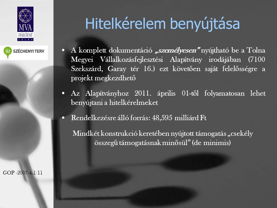 """Hitelkérelem benyújtása A komplett dokumentáció """"személyesen"""" nyújtható be a Tolna Megyei Vállalkozásfejlesztési Alapítvány irodájában (7100 Szekszárd"""