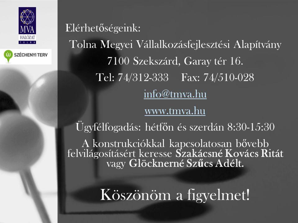 Elérhet ő ségeink: Tolna Megyei Vállalkozásfejlesztési Alapítvány 7100 Szekszárd, Garay tér 16. Tel: 74/312-333 Fax: 74/510-028 info@tmva.hu www.tmva.